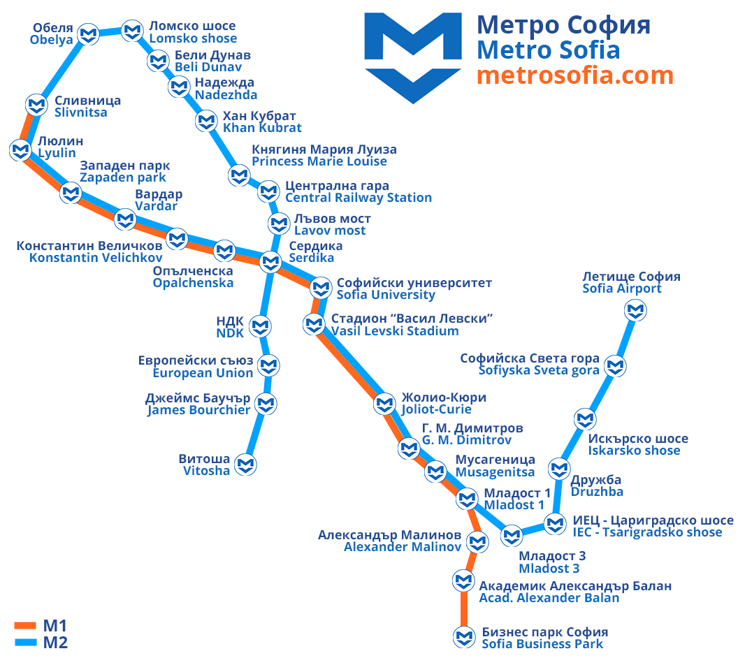 Subway Map Holiday.Sofia Metro Map
