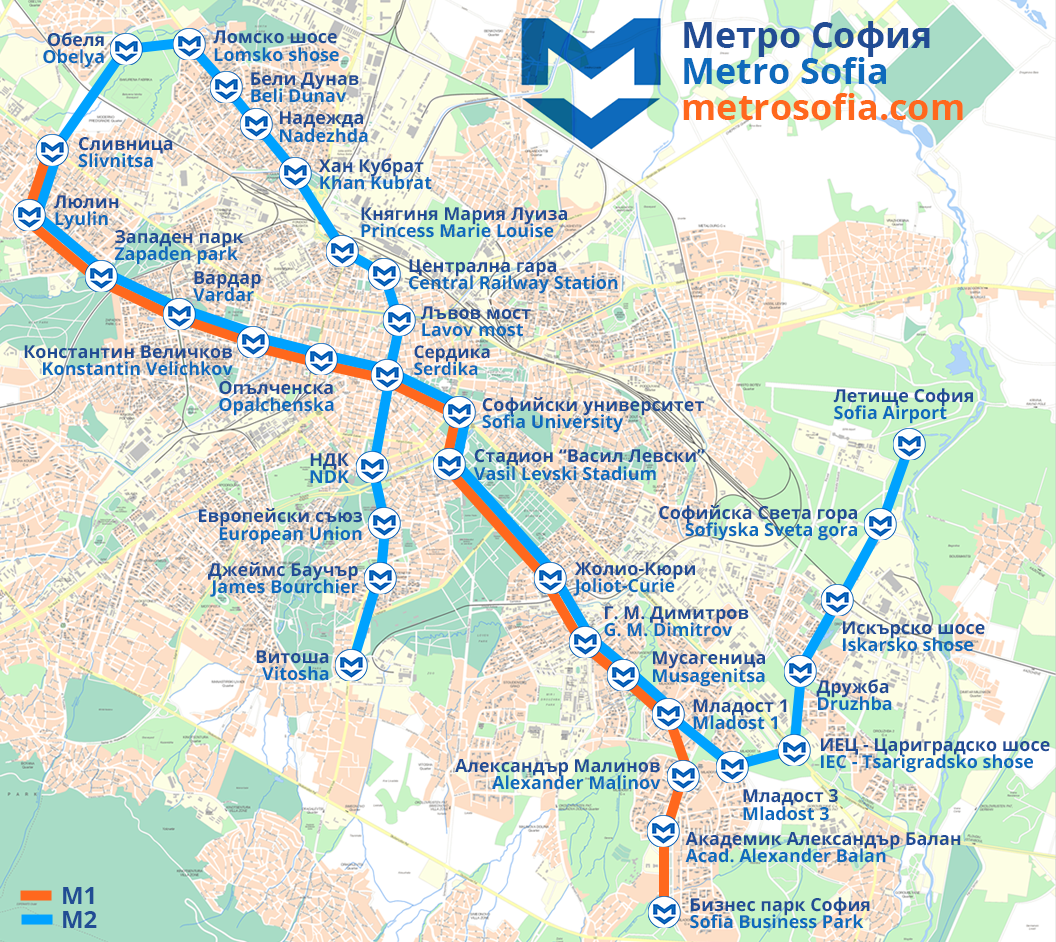 Sofia Metro Map on